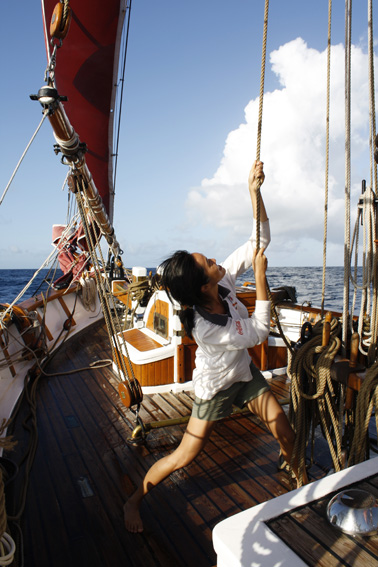 Joanne Har on the historic vessel Vega